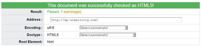 This document was successfully checked as HTML5 TOP