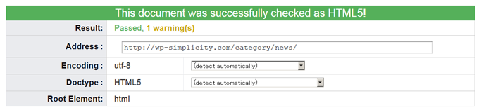 This document was successfully checked as HTML5