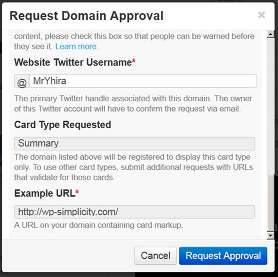 Twitter Cards登録入力