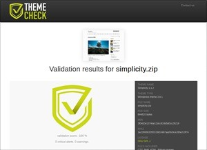 100% - WordPress theme Simplicity 1.1.2