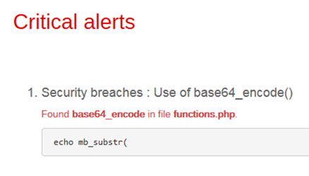 Security breaches Use of base64_encode()