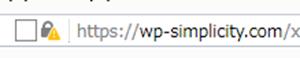 Simplicityサイトが混在コンテンツ状態の例